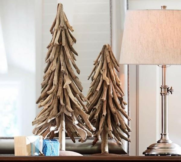 árboles navidad madera flotante dos