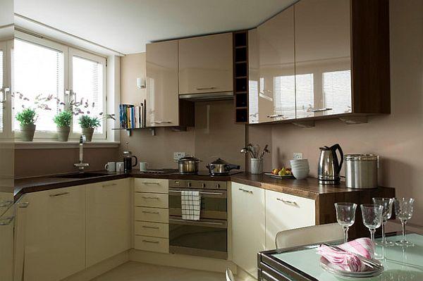 Cocinas modernas pequeña comoda acogedor armario empotrado