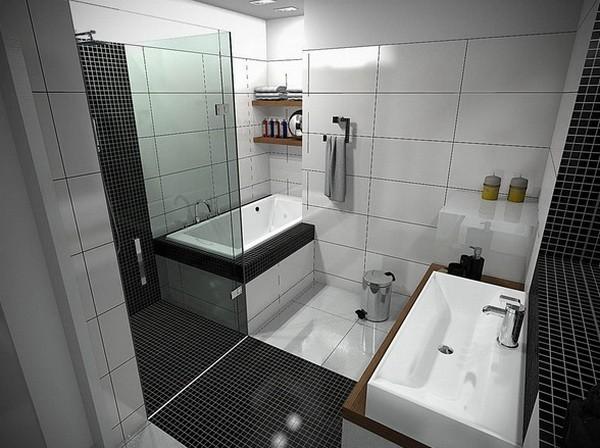 cuartos de baño pequeños azulejos negros