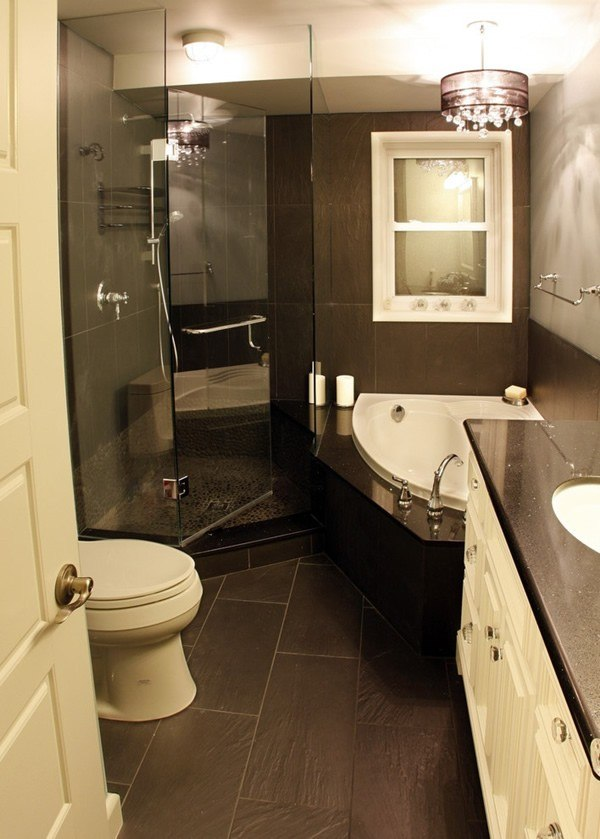 cuartos de baño pequeños colores marron