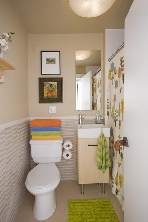 cuartos de baño pequeños colores naranja verde
