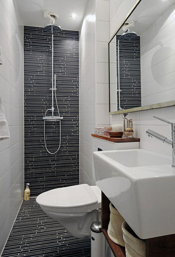 cuartos de baño pequeños blanco azulejos negro
