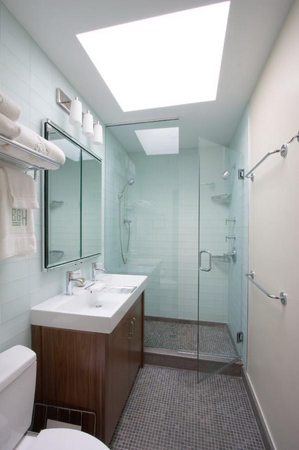 Cuartos de baño pequeños moderno mosaico puerta cristal