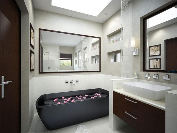 Cuartos de baño pequeños negro bonito moderno