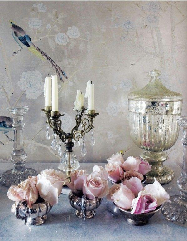 decoración mesa retro rosas
