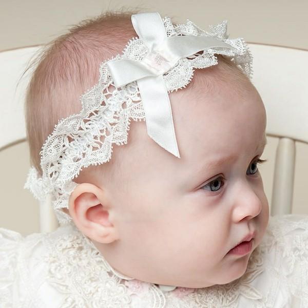 adorable diadema bebe encaje blanco