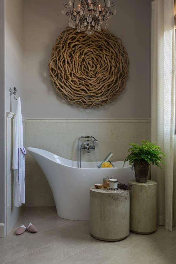 adorno redondo baño madera pared