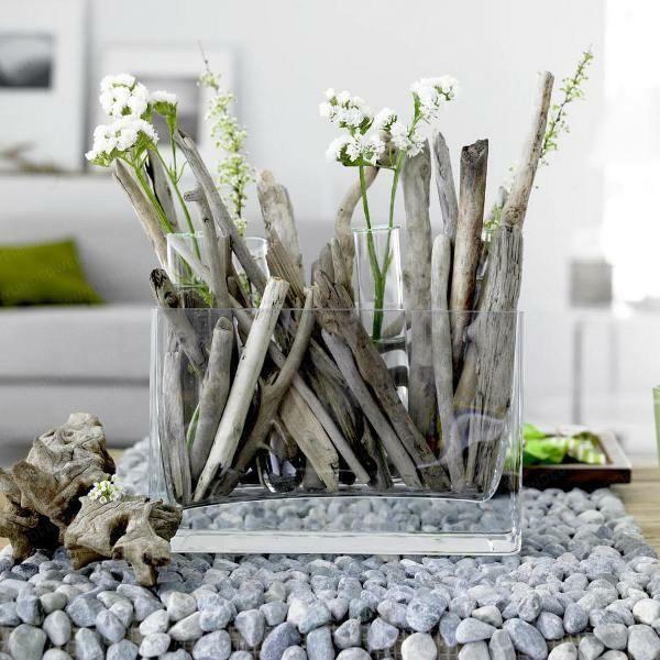 adornos flores madera flotante palos
