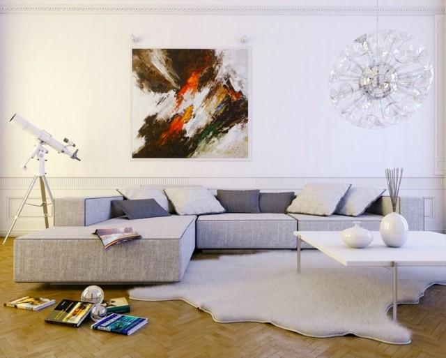 alfombra blanca forma interesante muebles diseño gris