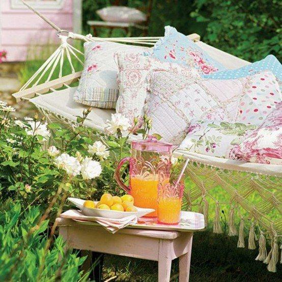 almohadas hamacas jardin patio ideas cojines