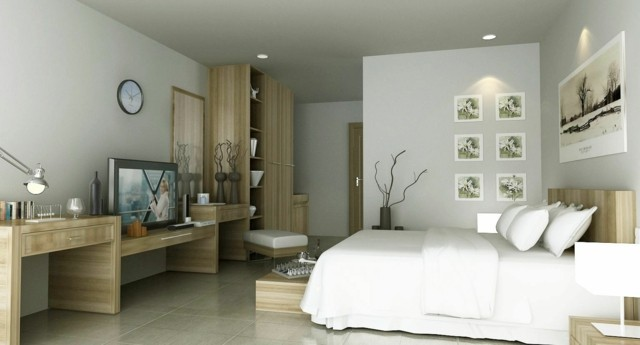 amplio dormitorio chica sutil colores crema precioso