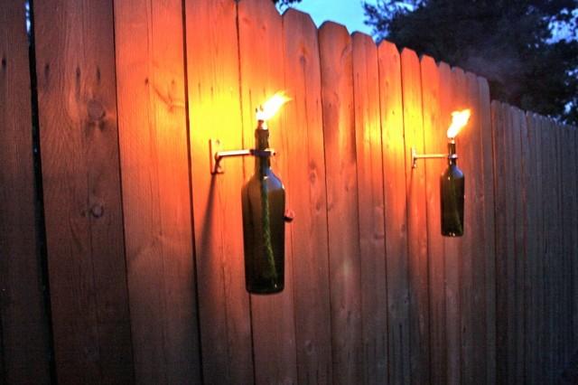 antorchas para jardin botellas verdes