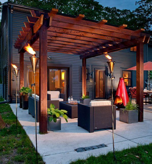 antorchas patio mobiliario moderno contenedores plantas