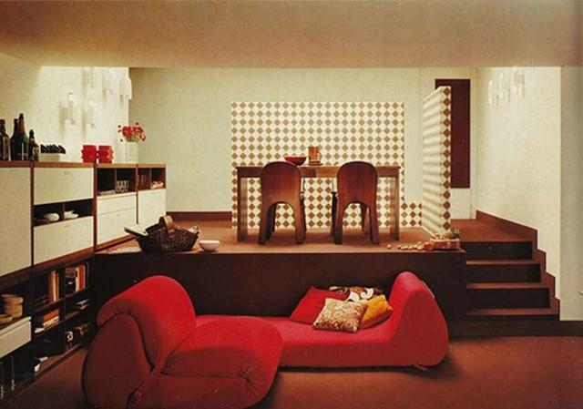 apartamento moderno rojo dos niveles moderno