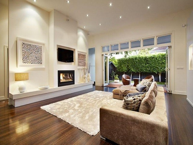 Decoracion comedor con mueble de tele blanco - Cool contemporary fireplace design ideas adding warmth in style ...