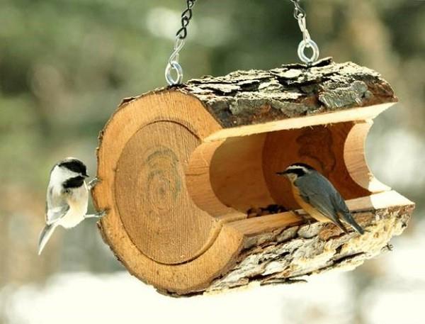 aves comedero madera pajaros jardin