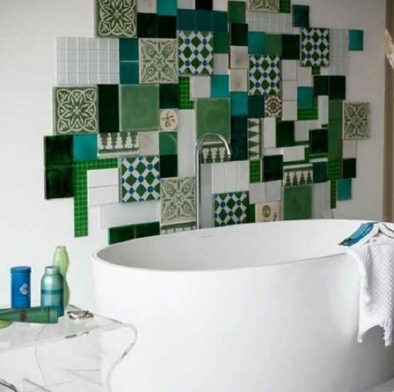 azulejos baño moderno verde muebles