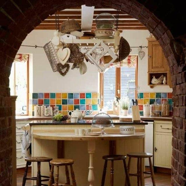 azulejos colores vintage cocina sillas madera moderno