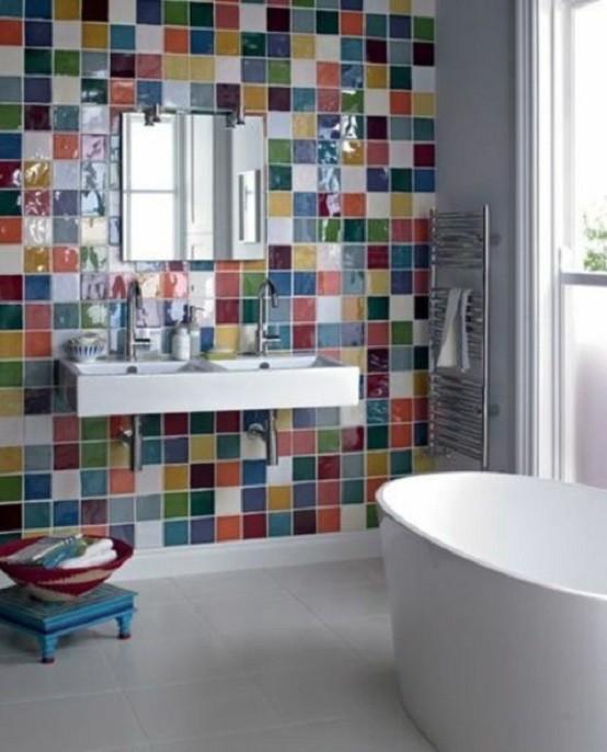 azulejos mural baño diseño iluminacion