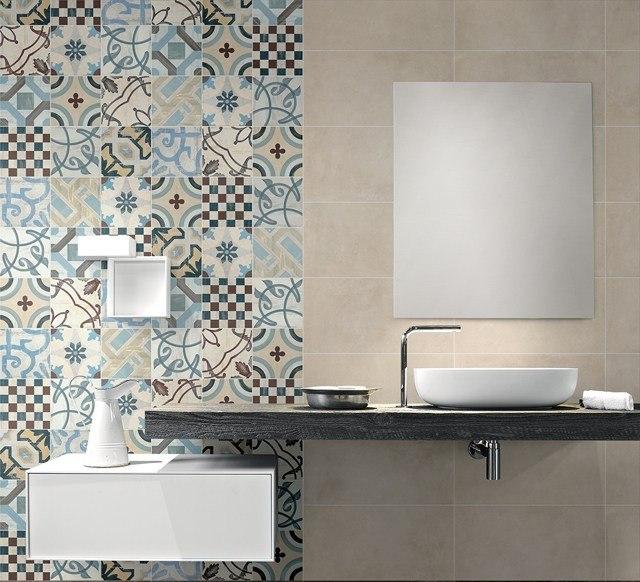 azulejos para baños colores mueble madera