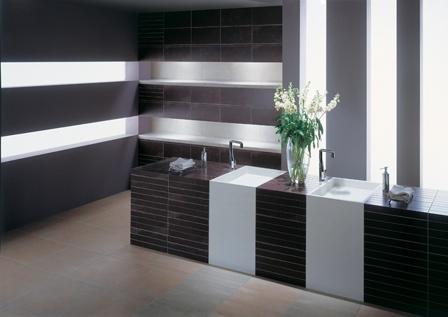 azulejos para baños diseño moderno flores luminarias