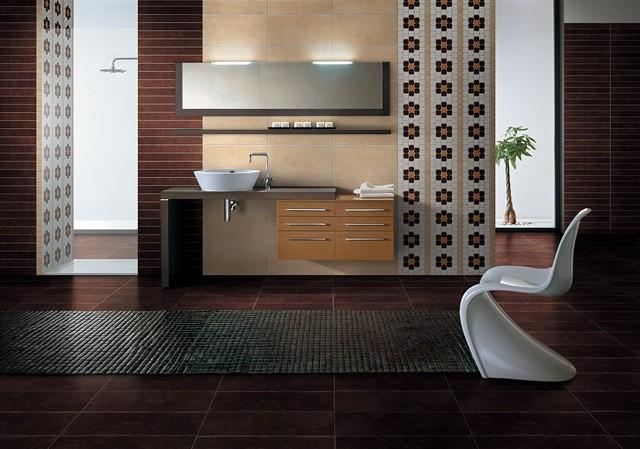 azulejos para baños floreado marron silla diseño