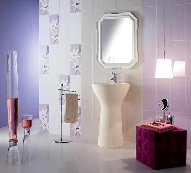azulejos para baños flores espejos lamparas