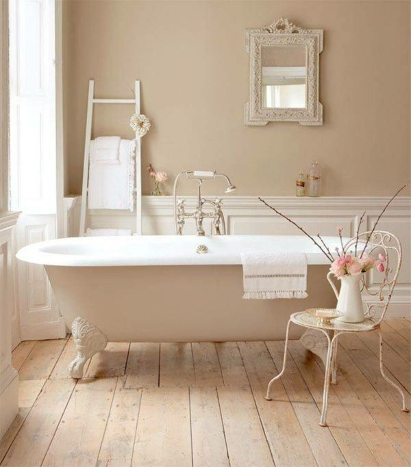 bañera blanca shabby chic silla