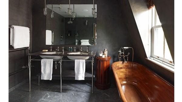 bañera laminada parquet madera redonda