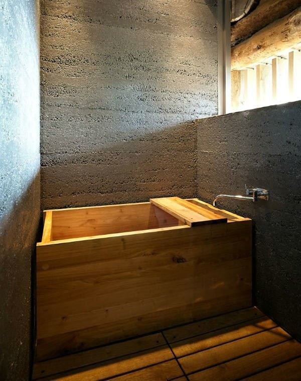 bañera lavabo minimalista madera pared