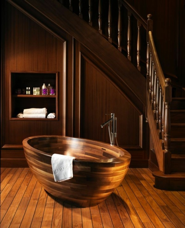bañera madera todo madera escaleras