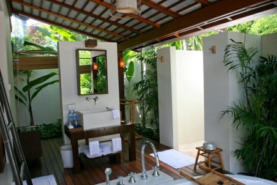 bañera muebles rústico piedras decoracion