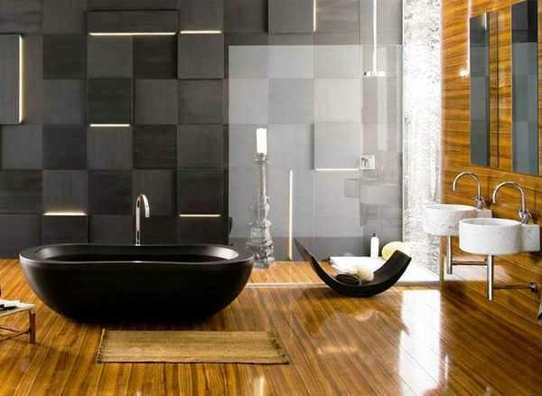 bañera negra suelo parquet moderno