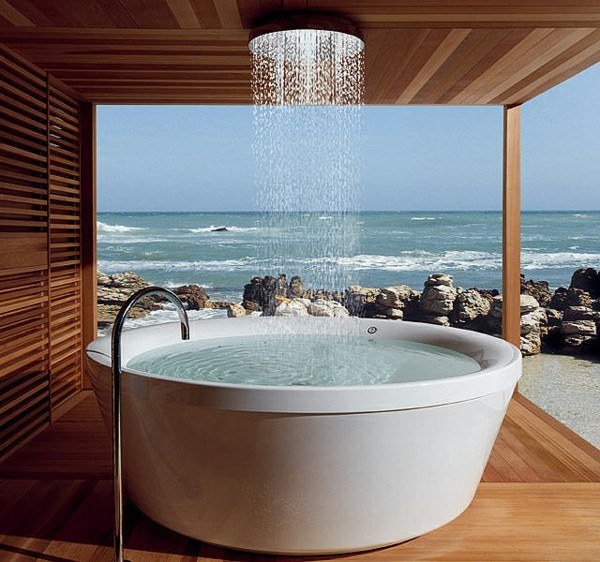 bañera redonda baño vistas laminado