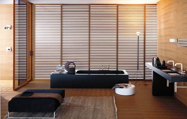 baño amplio diseño zen bonito negro