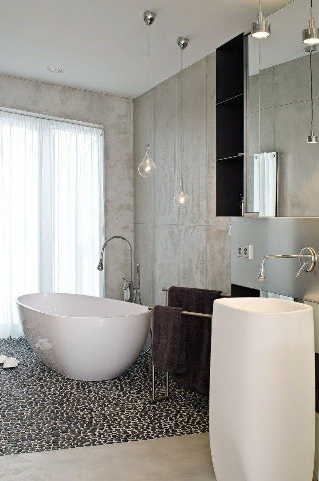 baño de diseño blanco elegante bañera suelo bonito piedras