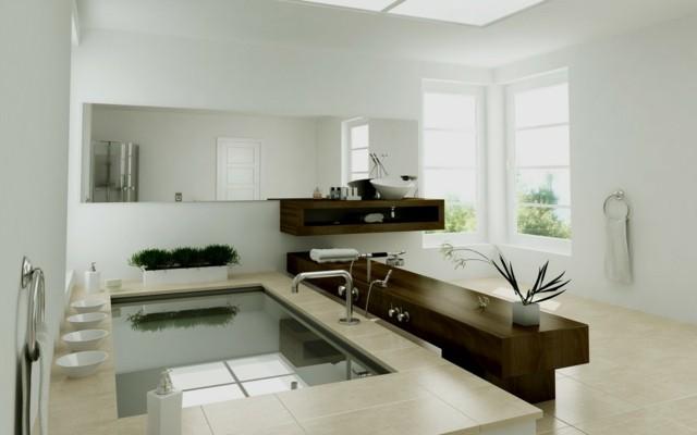 baño de diseño contemporaneo zen flores bonito tina grande