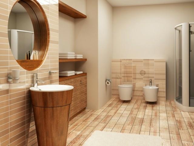 baño de diseño madera lavabo lineas ovuladas estanterias