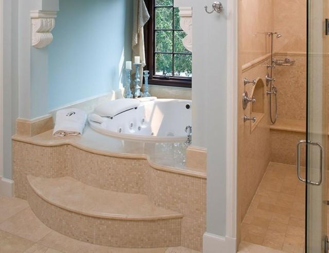 baño de diseño mosaico estilo mediterraneo ducha azul claro