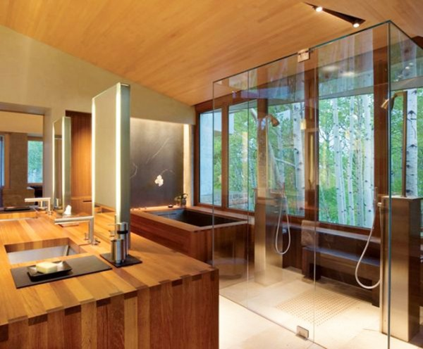 baño decoración madera vistas bosque