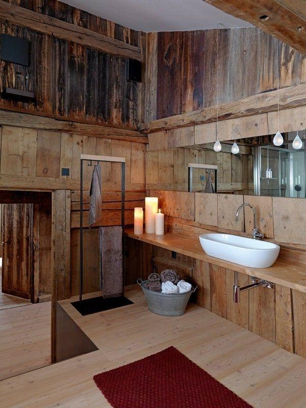 baño decoración madera plataforma