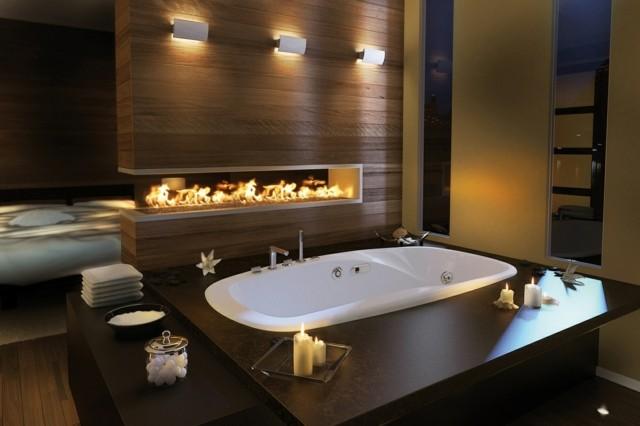 baño diseño artistico lugar fuego madera marron ilumina
