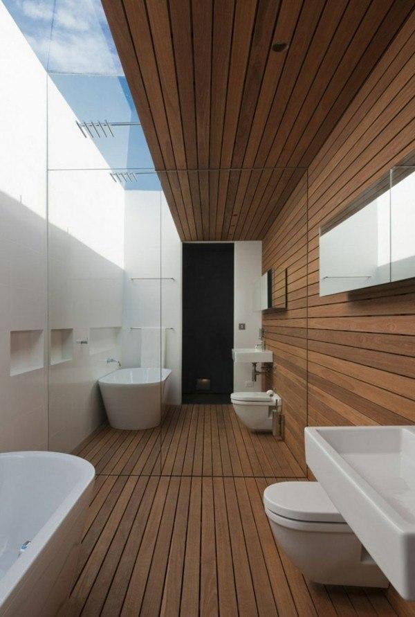 baño espejo madera suelo laminado