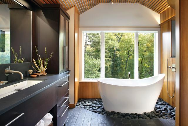 baño estilo zen baldos pulidos tina