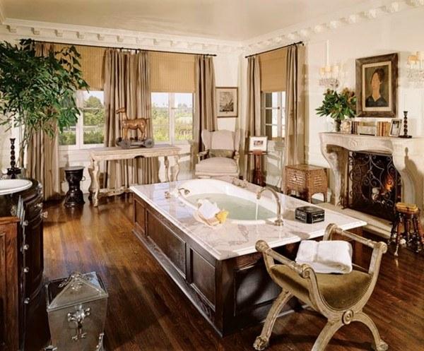 baño lujoso madera chimenea mármol