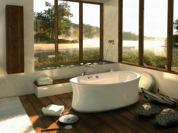 baño lujoso suelo madera rocas