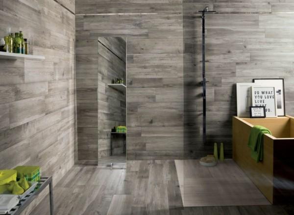 baño madera laminado pared gris
