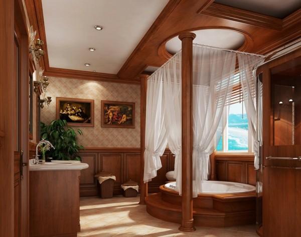 baño madera lujoso cortina mosquitera