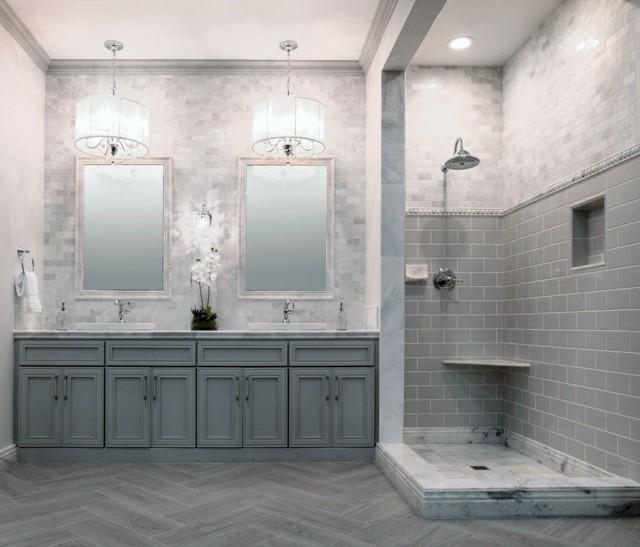 Baño Minimalista Gris:baños de diseño majestuoso gris amplio minimalista idea