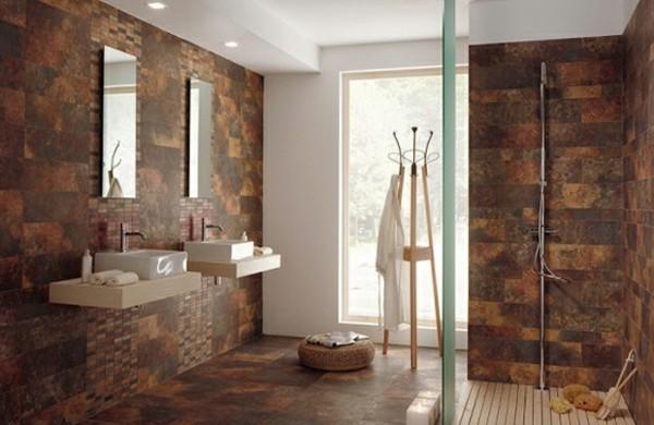 baño moderno baldosas marrones diferentes